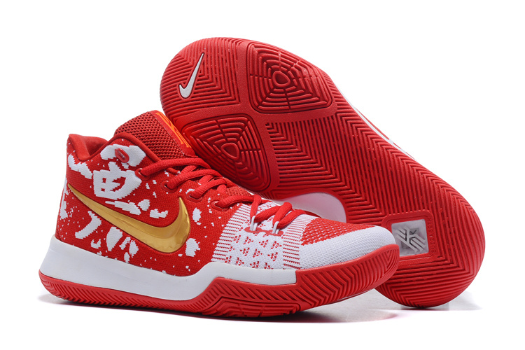 Nike Kyrie 3 Flyknit Red White Gold Shoes