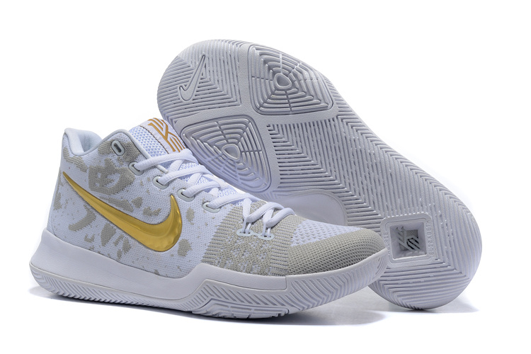 Nike Kyrie 3 Flyknit White Gold Shoes