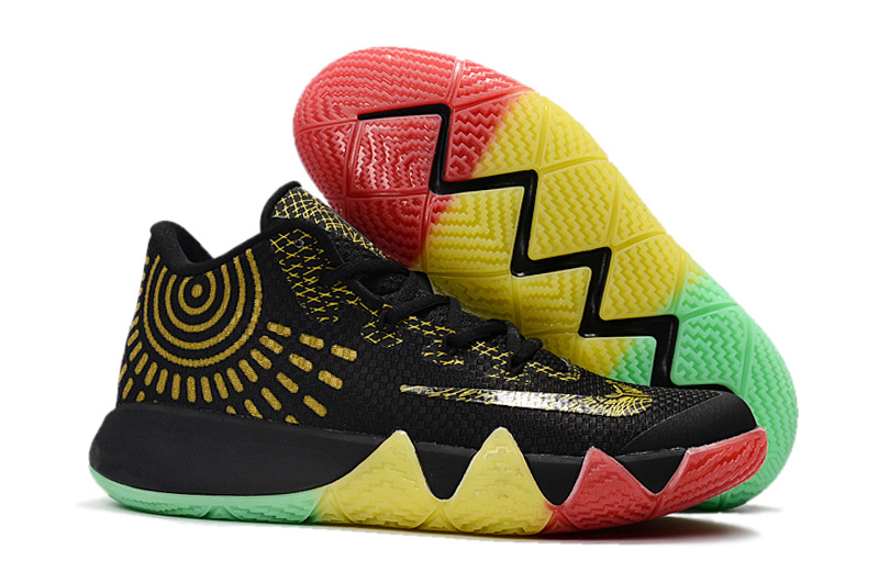 Nike Kyrie 4 Black Gold Colorful Shoes