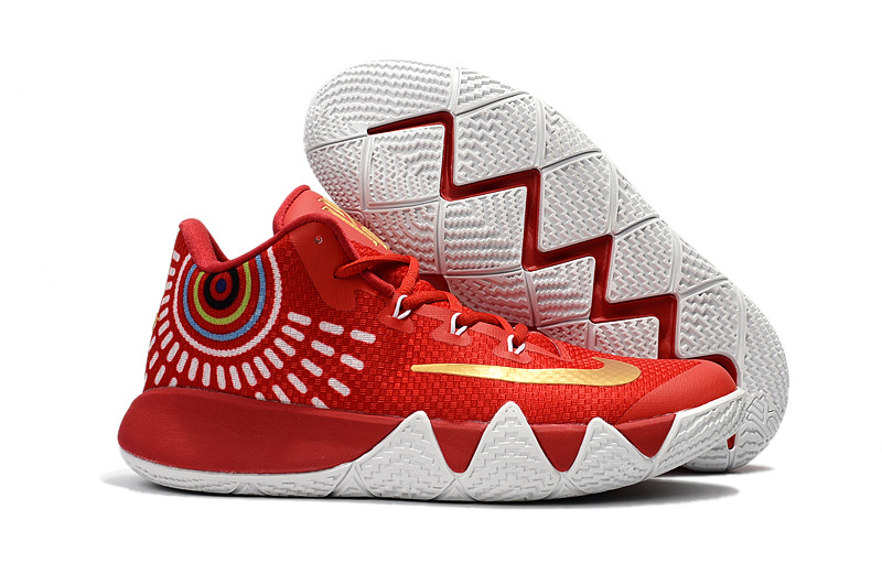 Nike Kyrie 4 Red White Gold Shoes