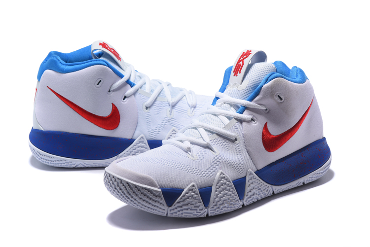 Nike Kyrie 4 White Blue Red Mens Basketball Shoes