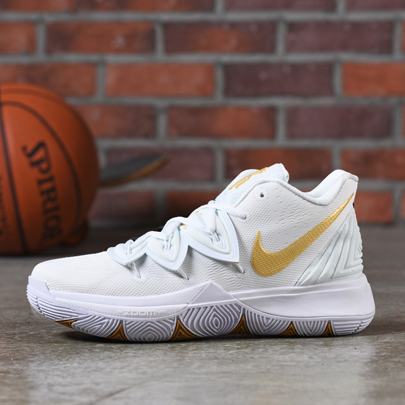 Nike Kyrie 5 White Gloden Shoes
