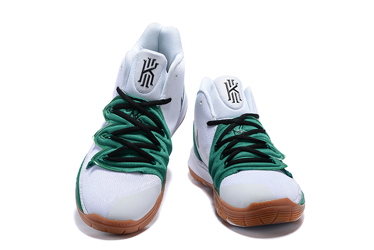 Nike Kyrie 5 White Green Black Swoosh Shoes