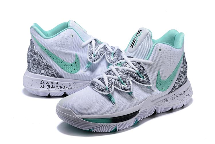 Nike Kyrie 5 White Grey Green Swoosh Shoes