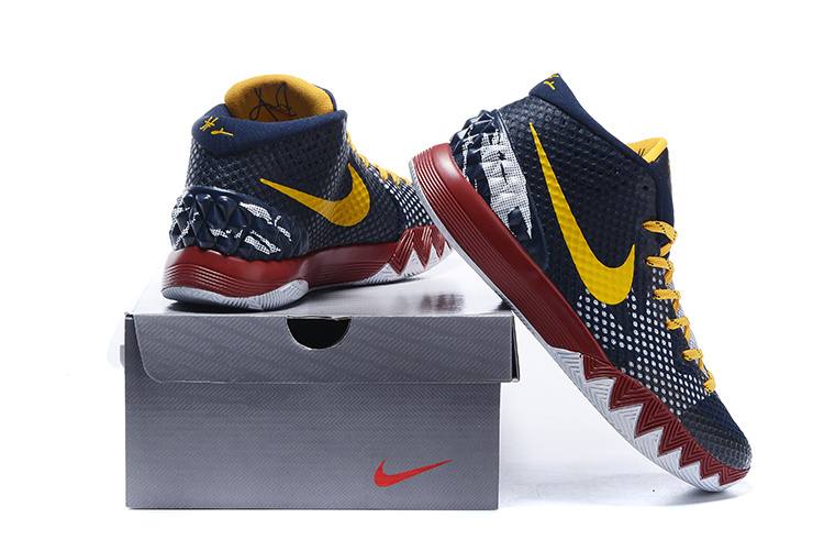 Nike Kyrie 1 Dark Blue Yellow Red White Shoes [NK150 ...  Kyrie 1 Blue And Yellow