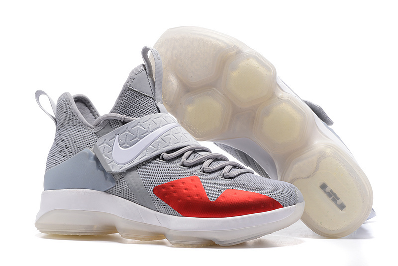 Nike LeBron 14 Wolf Grey Red Shoes