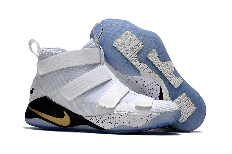 Nike LeBron Soldier 11 White Black Gold Shoes - Click Image to Close