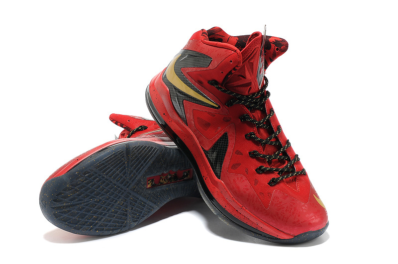 Nike Lebron James 10 Shoes Champion Red Black Basketball