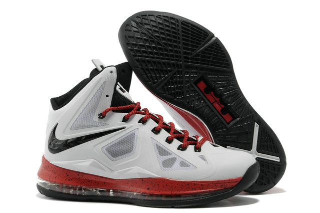 Nike Lebron James 10 Shoes White Red Black