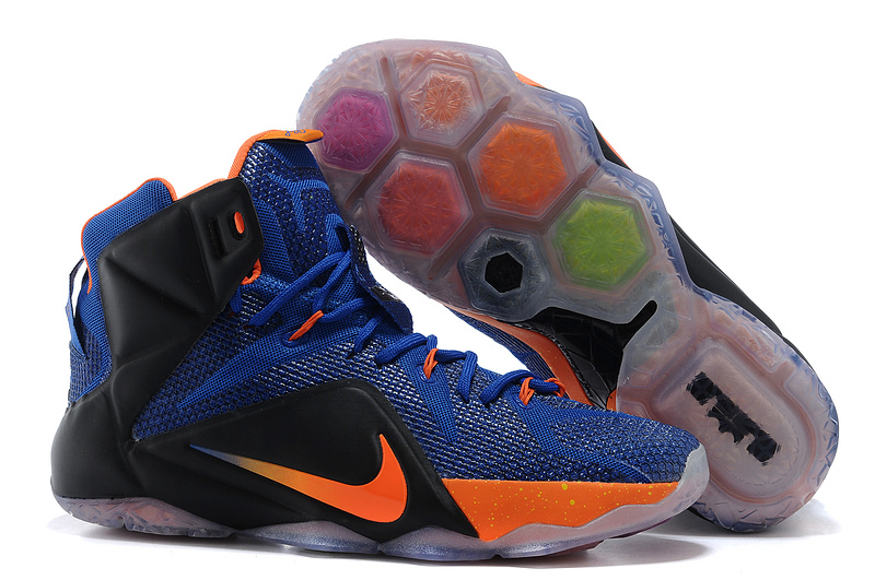 Nike Lebron James 12 Blue Black Orange Basketball Shoes