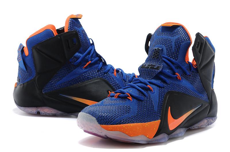 2014 Nike Lebron James 12 Blue Black Orange Basketball ...