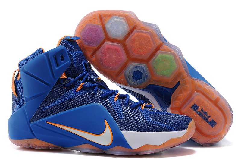 Nike Lebron James 12 Blue White Orange Basketball Shoes