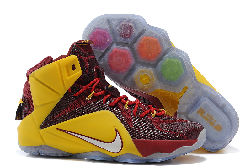 Nike Lebron James 12 Blue Wine Red Yellow Basketball Shoes