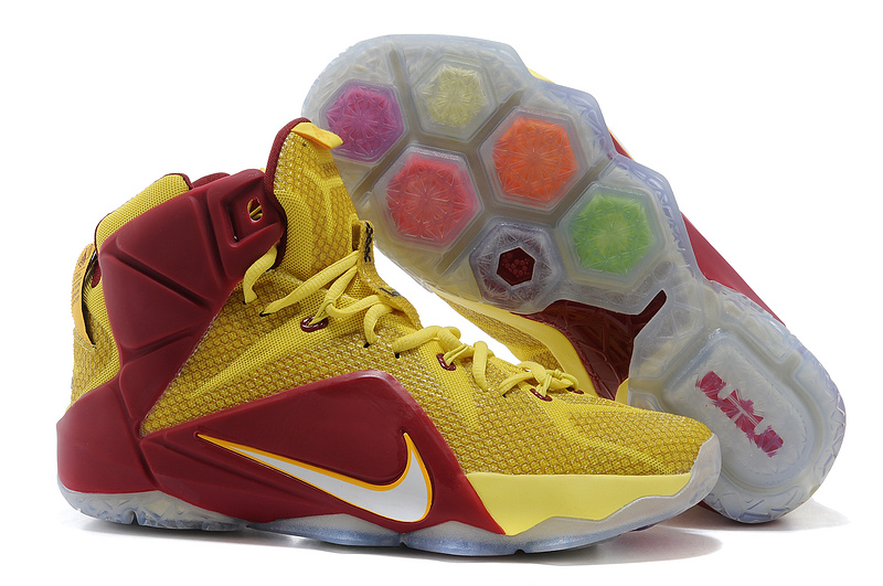 Nike Lebron James 12 Blue Yellow Wine Red Basketball Shoes