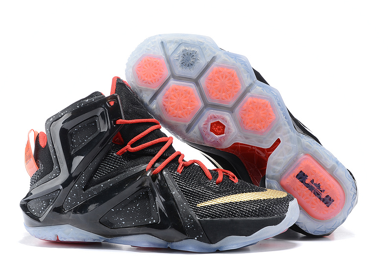 Nike Lebron 12 Elite Black Red Gold Shoes