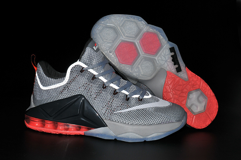 Nike Lebron 12 Low Grey Black Red Shoes