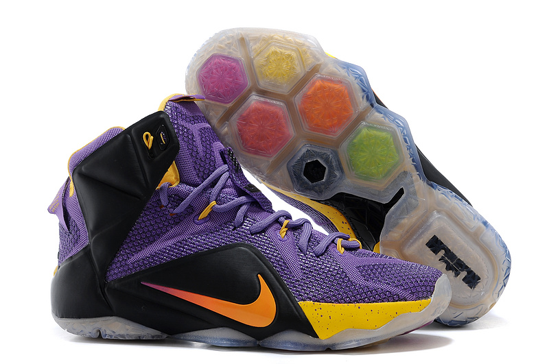 Nike Lebron James 12 Purple Black Yellow Basketball Shoes