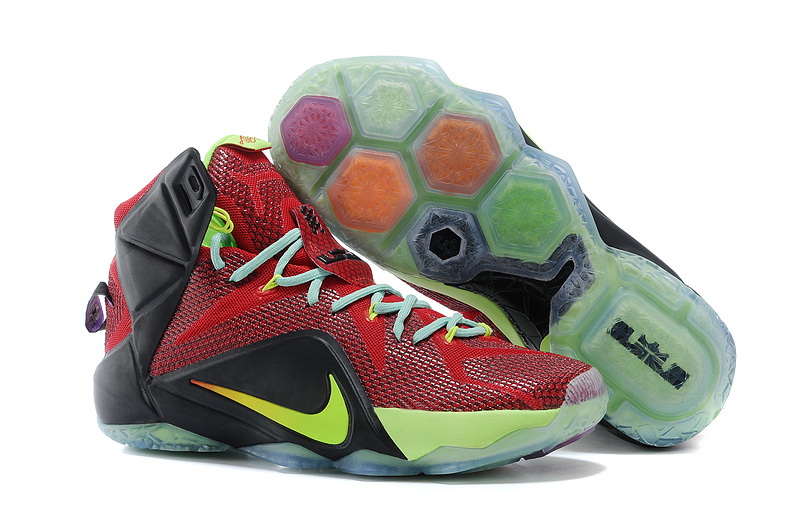 Nike Lebron James 12 Red Black Green Basketball Shoes