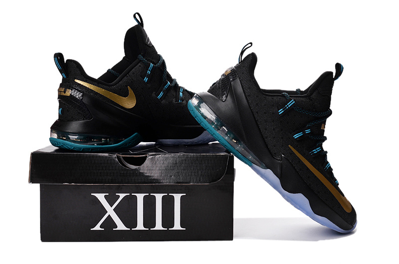 Nike Lebron 13 Low Black Blue Gold Shoes