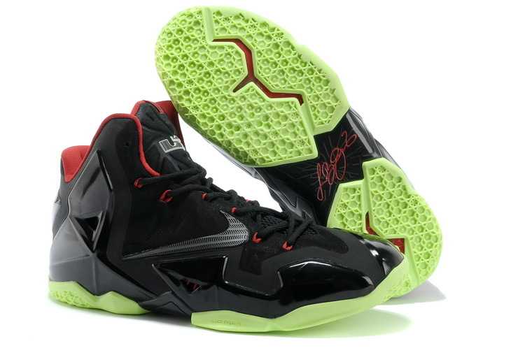 Nike Lebron James 11 Black Grass Green Red Shoes