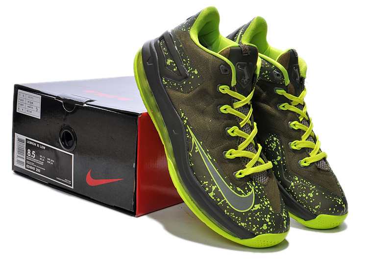 Nike Lebron James 11 Grey Fluorscent Green Shoes