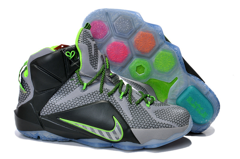 Nike Lebron James 12 Grey Black Green Shoes