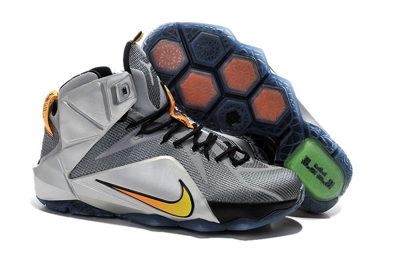 Nike Lebron James 12 Grey Black Silver Yellow Shoes
