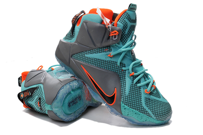 Nike Lebron James 12 Grey Green Orange Basketball Shoes