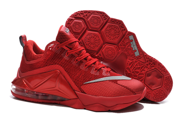 Nike Lebron James 12 Low All Red Shoes