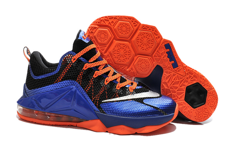 Nike Lebron James 12 Low Black Blue Orange Shoes