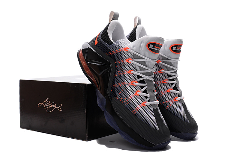 Nike Lebron James 12 Low Grey Black Redish Orange Shoes