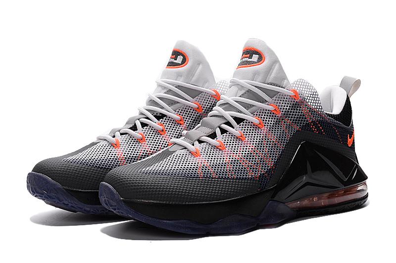 99a1234eed9a Nike Lebron James 12 Low Grey Black Redish Orange Shoes  LBJL1201 ...