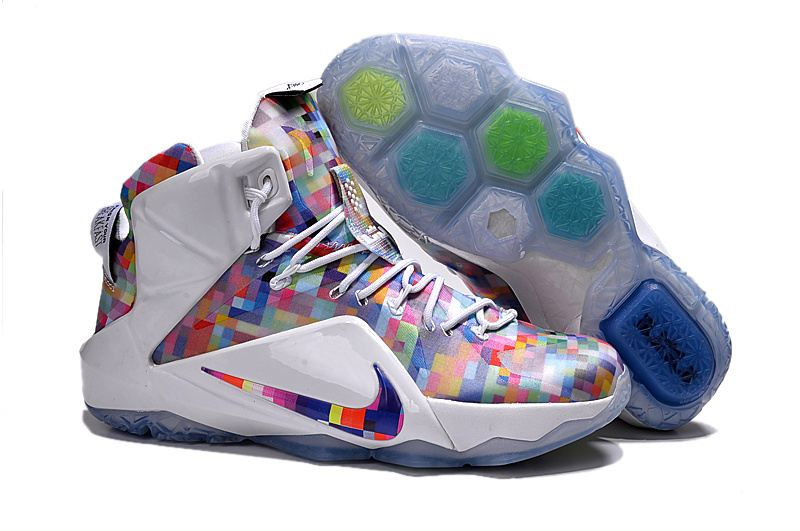 Nike Lebron James 12 Rainbow White Colorful Shoes