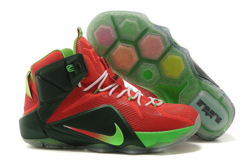 Nike Lebron James 12 Red Black Green Shoes