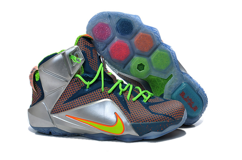 Nike Lebron James 12 Red Blue Silver Green Shoes