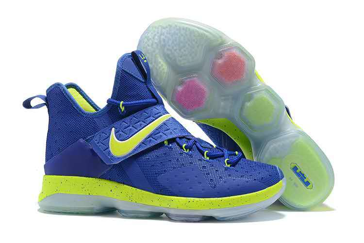 Nike Lebron James 14 Blue Fluorscent Green Shoes