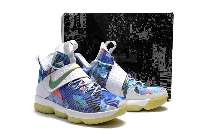 Nike Lebron James 14 Colorful White Shoes