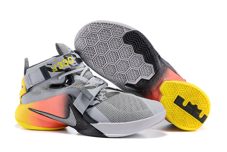 Nike Lebron James 9 Soldier Grey Black Red Yellow Shoes