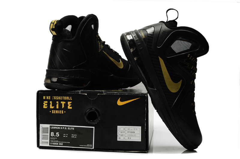 Nike Lebron James 9.5 Black Gold Shoes