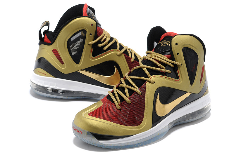 Nike Lebron James 9.5 Shoes Black Red Gold