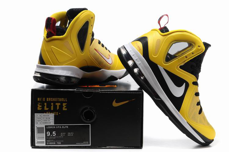 Nike Lebron James 9.5 Black Yellow White Shoes