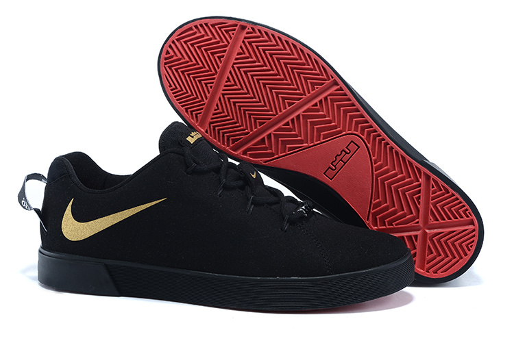 Nike Lebron James Low Casual Shoes Dark Black Gold