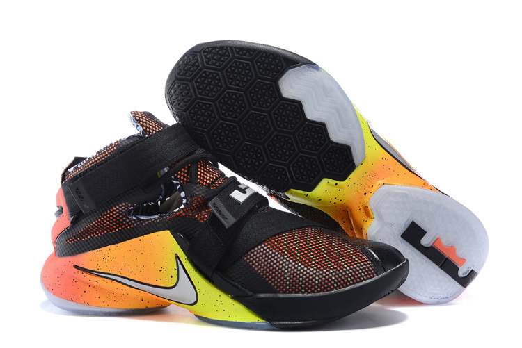 Nike Lebron James Soldier 9 Black Yellow Orange Shoes