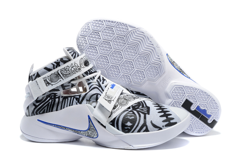 Nike Lebron James Soldier 9 Graffiti White Black Shoes