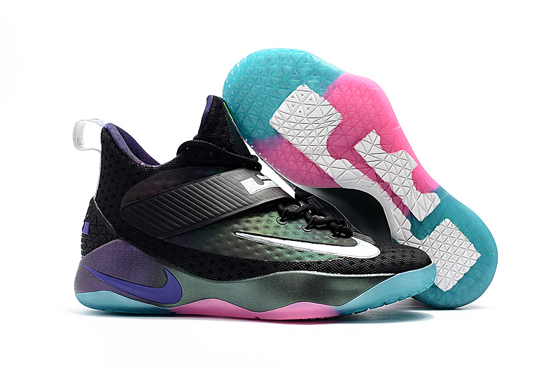 Nike Lebron Soldier 11 Black Blue Pink Shoes