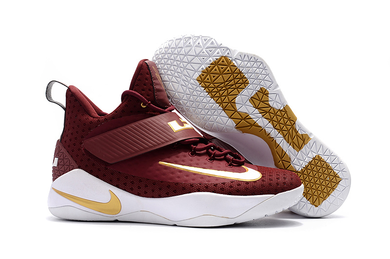 Nike Lebron Soldier 11 Wine Red Gold White Shoes