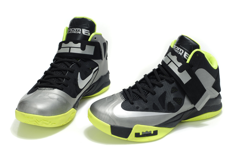 8907d99bb0484 Latest Lebron James Soldier 6 Black Grey Green Shoes On Hot Sale