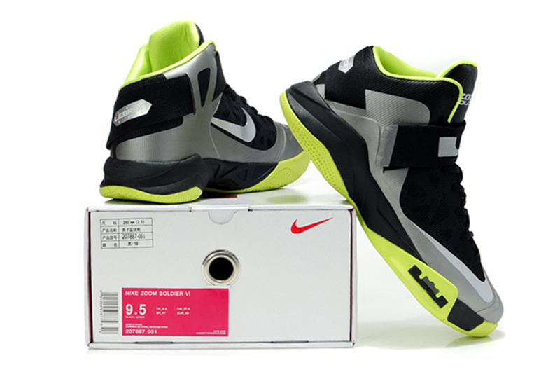 cbe1d561a55 Latest Lebron James Soldier 6 Black Grey Green Shoes On Hot Sale