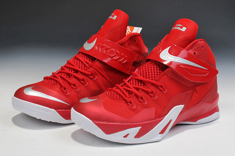 Lebron James Soldier 8 Red White Basketball Shoes