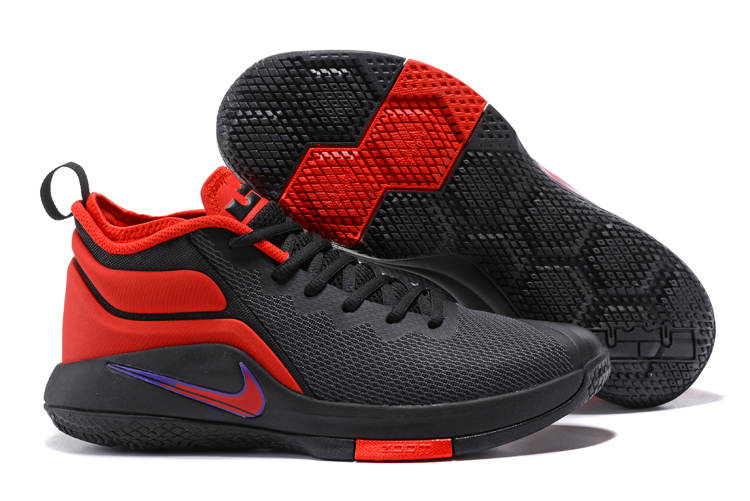 Nike Lebron Wintness 1 Black Red Broken Swoosh Shoes
